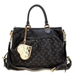 Louis Vuitton Black Monogram Denim Neo Cabby GM Bag with Charm
