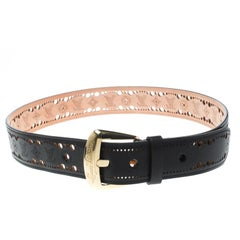 Louis Vuitton Black Perforated Leather Phoenix Belt 85cm