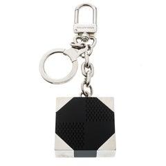 Louis Vuitton Black Textured Resin Silver Tone Bag Charm / Keyring