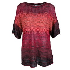 M Missoni Multicolor Wave Pattern Knit Oversized Top S