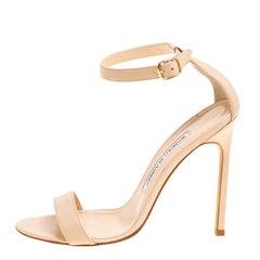 Manolo Blahnik Beige Leather Chaos Ankle Strap Open Toe Sandals Size 36