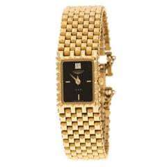 Longines Black Gold Plated Vintage QWR HT 1964-0961 Women's Wristwatch 16 mm