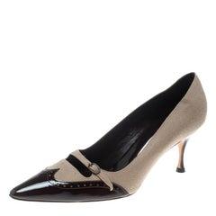 Manolo Blahnik Beige/Brown Wool Blend and Patent Leather Brogue Cap Toe Buckle P