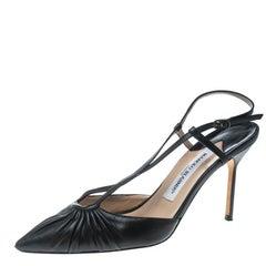Manolo Blahnik Black Leather Pleat Detail Cross Strap Sandals Size 39