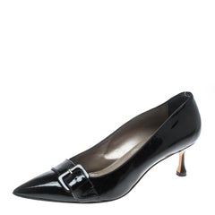 Manolo Blahnik Black Patent Leather Buckle Embellished Pumps Size 39
