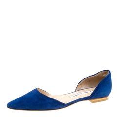 Manolo Blahnik Cobalt Blue Suede Soussaba D'Orsay Flats Size 35.5