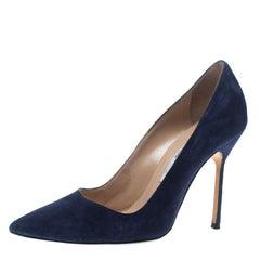 Manolo Blahnik Dark Blue Suede BB Pointed Toe Pumps Size 36