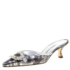 Manolo Blahnik Metallic Black/Silver Brocade Fabric Crystal Embellished Pointed