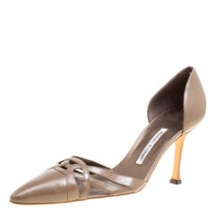 Manolo Blahnik Taupe Brown Cut Out Leather D'Orsay Pointed Toe Pumps Size 41