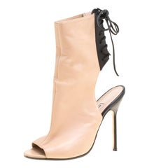 Manolo Blahnik Two Tone Leather Bellanto Cut Out Peep Toe Booties Size 37