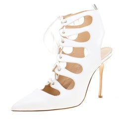 Manolo Blahnik White Leather Latta Cut Out Lace Up Pointed Toe Booties Size 39