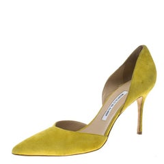 Manolo Blahnik Yellow Suede Tayler D'orsay Pointed Toe Pumps Size 40.5