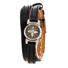 Louis Vuitton Grey Stainless Steel Diamond Tambour Bijou Q151K Women's Wristwatc