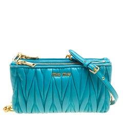 Miu Miu Turquoise Matelasse Leather Double Zip Crossbody Bag