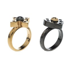 Louis Vuitton Love Letters Black/Gold Tone Ring Set Size 51