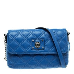 Marc Jacobs Blue Quilted Leather Day To Night Single Crossbody Bag