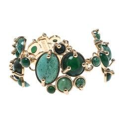 Missoni Sea Green Asymmetrical Cabochon Gold Tone Bracelet