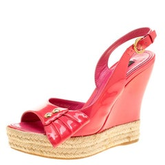 Louis Vuitton Pink Patent Leather Peep Toe Espadrille Wedge Slingback Sandals Si