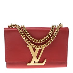 Louis Vuitton Red Leather Chain Louise MM Clutch