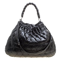 8a930015dc0 Miu Miu Black Glazed Quilted Leather Large Harlequin Hobo