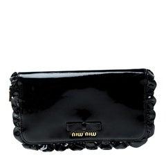 Miu Miu Black Patent Leather Ruffle Zip Around Wallet