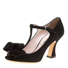 Miu Miu Black Suede Mary Jane Bow T Strap Pumps Size 35.5