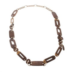 Marni Wood & Gold Tone Long Chain Link Necklace