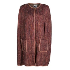 M Missoni Multicolor Chunky Knit Split Poncho Style Button Front Long Cardigan L