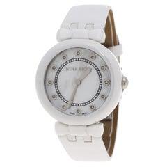 Nina Ricci White Mother of Pearl and Diamonds Ceramic N054004SM Women's Wristwat