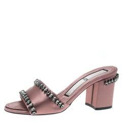 Nº21 Blush Pink Satin Crystal Embellished Slide Sandals Size 37