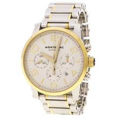 Montblanc Silver Stainless Steel & Yellow Gold Timewalker Chronograph Wristwatch