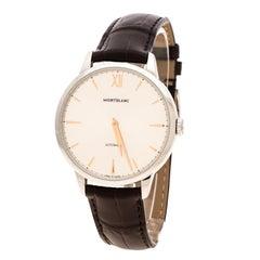 Montblanc Silver White Stainless Steel Heritage Spirit 7299 Men's Wristwatch 41