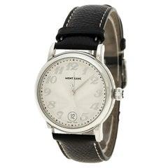 MontBlanc Silver White Stainless Steel Meisterstuck Star 7042 Men's Wristwatch