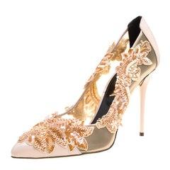Oscar de la Renta Beige Patent Leather and Mesh Alyssa Embellished Pointed Toe P