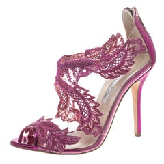 Oscar de la Renta Metallic Pink Leather and PVC Ambria Embellished Peep Toe Sand