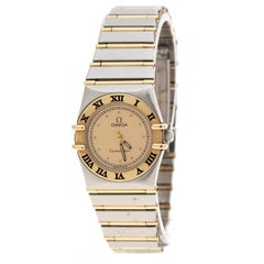 Omega Gold Dial 18K Yellow Gold and Stainless Steel Constellation 795.1080.1 Wom