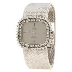 Omega Grey 18K White Gold De Ville Women's Wristwatch 40 mm