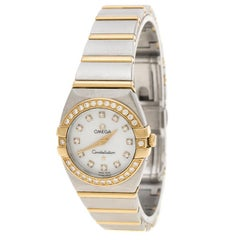 Omega Mother of Pearl 18K Yellow Gold and Stainless Steel Diamond Constellation
