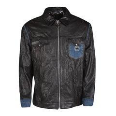 Philipp Plein Black Lamb Leather Denim Trim Jacket 4XL