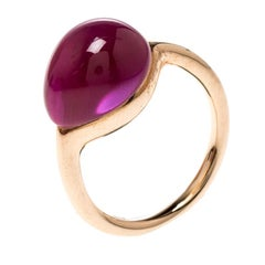 Pomellato Rouge Passion Synthetic Pink Sappire & 9K Rose Gold Ring Size 48