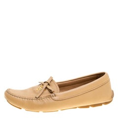 Prada Beige Leather Bow Loafers Size 36