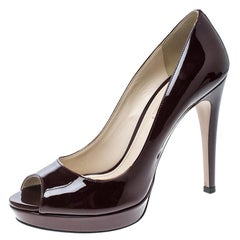 Prada Burgundy Patent Leather Peep Toe Platform Pumps Size 39