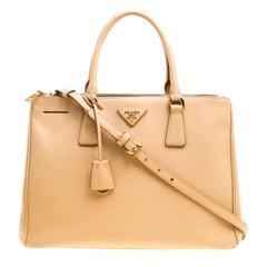 Prada Beige Saffiano Lux Leather Medium Galleria Double Zip Top Handle Bag