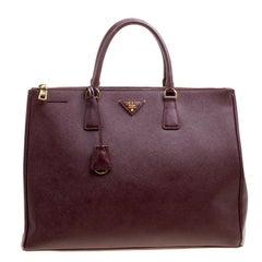 Prada Burgundy Saffiano Lux Leather Executive Double Zip Tote