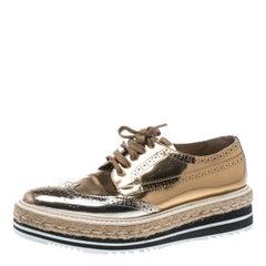Gold Brogue Leather Wave Wingtip Espadrille Platform Derby Sneakers Size 38