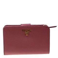 Prada Dark Pink Saffiano Metal Leather Zippy Wallet