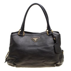 Prada Black Deerskin Leather Shoulder Bag