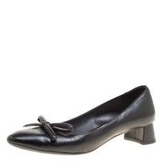 Prada Black Leather Bow Block Heel Pumps Size 39