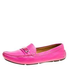 Prada Fuchsia Pink Leather Loafers Size 40