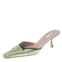 Prada Mint Green Satin Embroidered and Lizard Heel Mules Size 38
